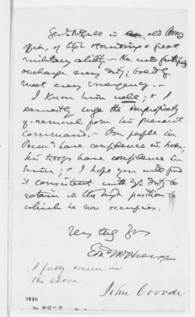 Edward McPherson to Abraham Lincoln, Friday, May 09, 1862  (Rumor that Gen. Archibald McCall will be relieved; endorsed by John Covode)