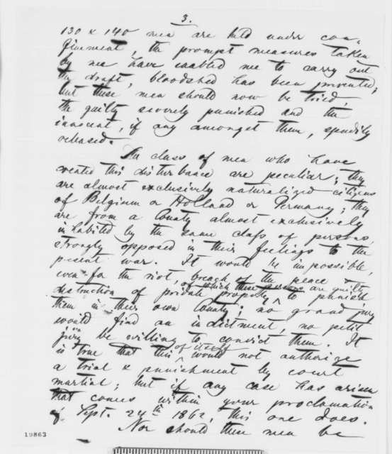 Edward Salomon to Abraham Lincoln, Monday, December 01, 1862  (Draft resistance in Wisconsin)