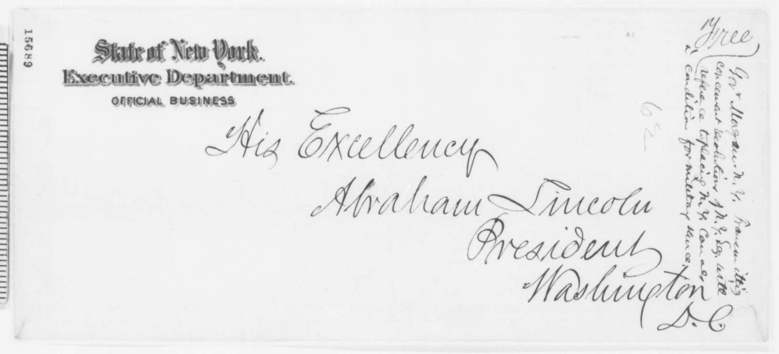 Edwin D. Morgan to Abraham Lincoln, Friday, April 25, 1862  (Cover letter)