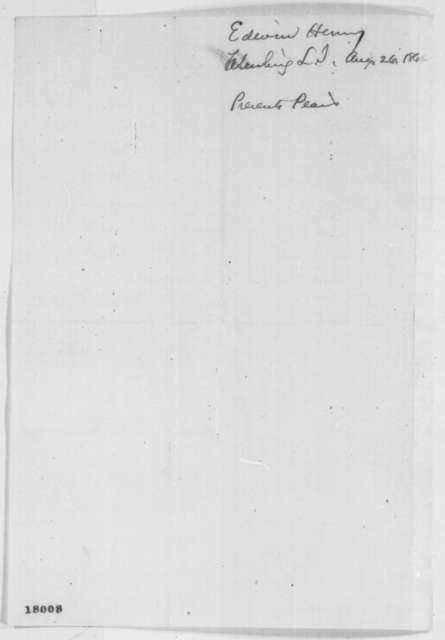 Edwin Henry to Abraham Lincoln, Tuesday, August 26, 1862  (Sends pears)