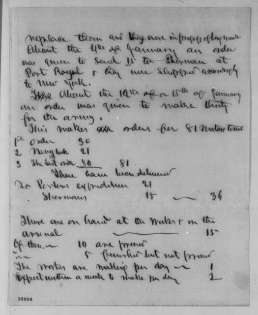 Edwin M. Stanton, January 25, 1862  (Memorandum on Mortars)