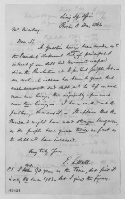 Eliakim Littell to John G. Nicolay, Monday, December 08, 1862  (National debt)