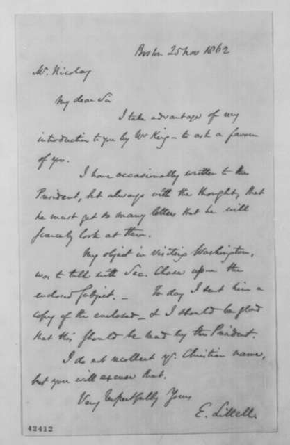 Eliakim Littell to John G. Nicolay, Tuesday, November 25, 1862  (Cover letter)