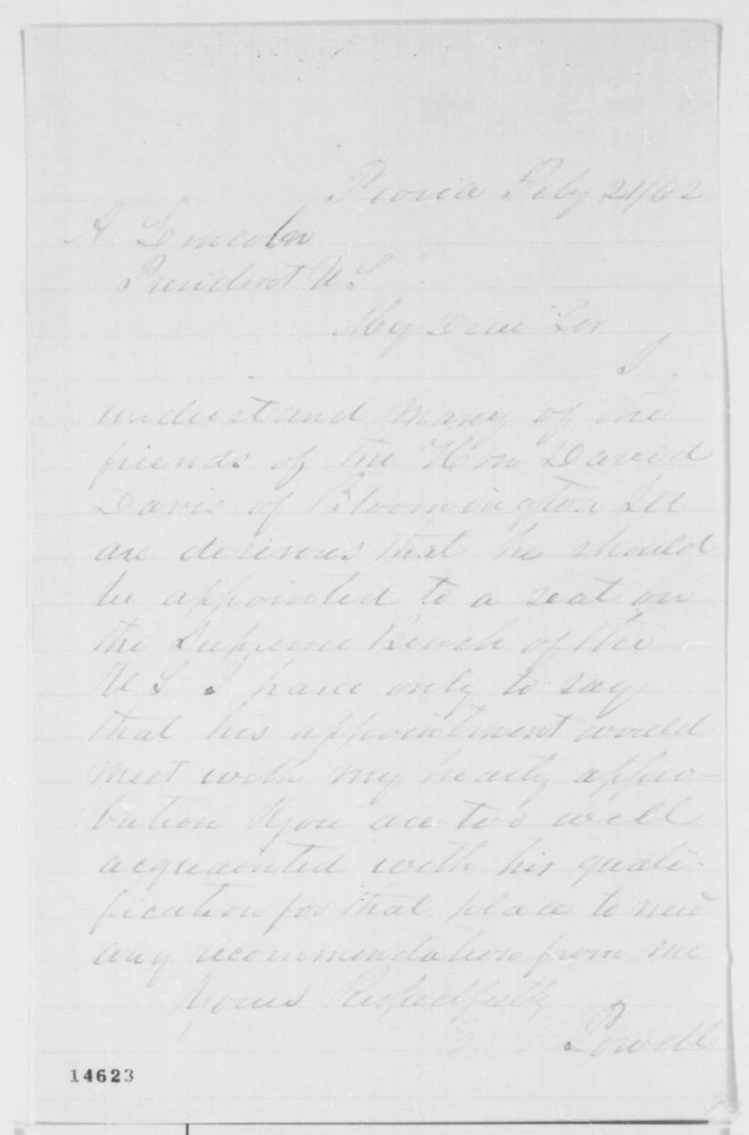 Elihu N. Powell to Abraham Lincoln, Friday, February 21, 1862  (Recommends David Davis)