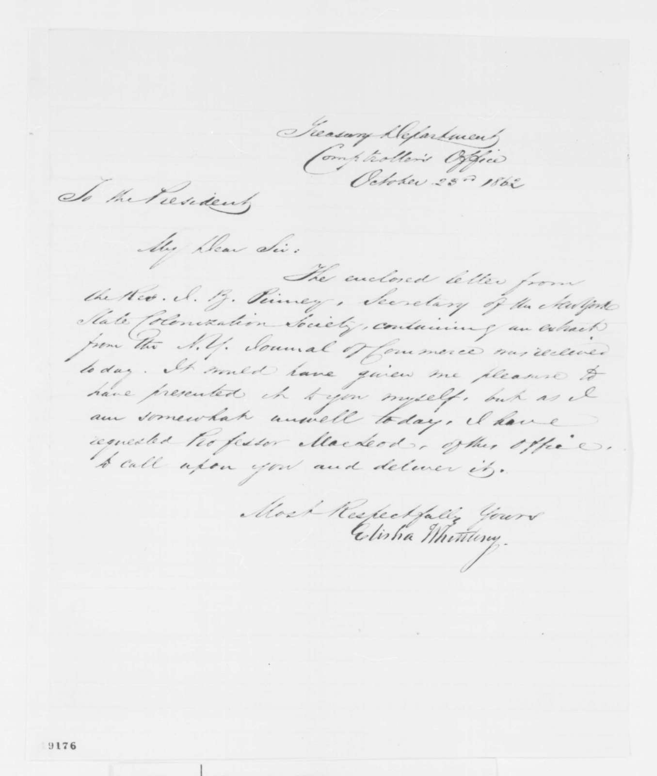 Elisha Whittlesey to Abraham Lincoln, Thursday, October 23, 1862  (Cover letter)
