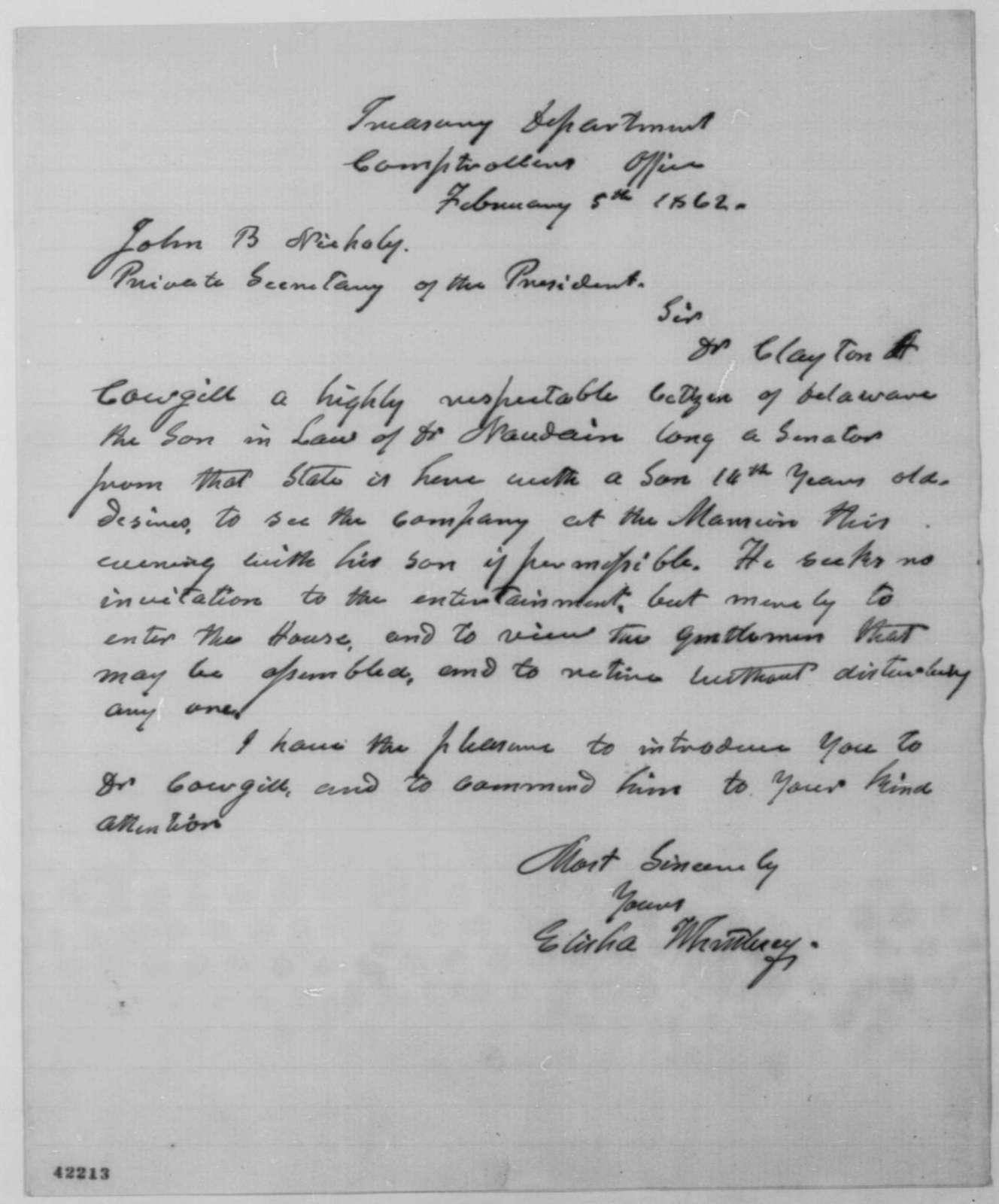 Elisha Whittlesey to John G. Nicolay, Wednesday, February 05, 1862  (Introduction)