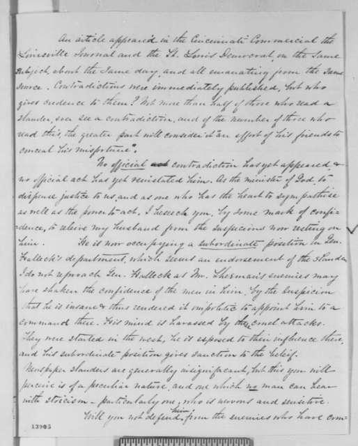 Ellen E. Sherman to Abraham Lincoln, Thursday, January 09, 1862  (Seeks to vindicate her husband)