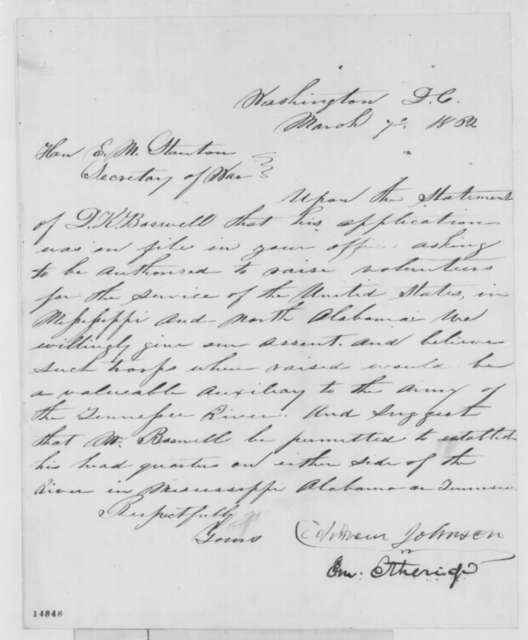 Emerson Etheridge and Andrew Johnson to Edwin M. Stanton, Friday, March 07, 1862  (Recommendation)