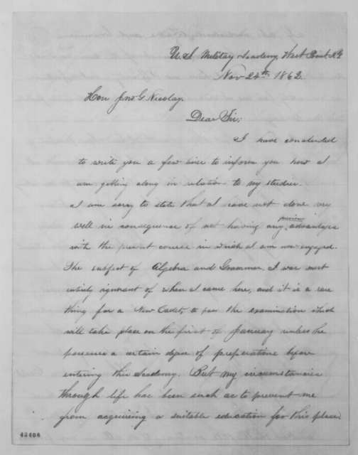 Erasmus D. Gaines to John G. Nicolay, Monday, November 24, 1862  (Report from cadet at West Point)