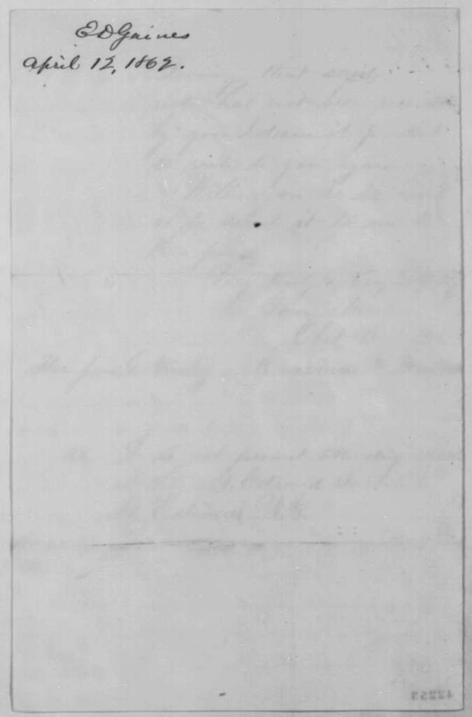 Erasmus D. Gaines to John G. Nicolay, Saturday, April 12, 1862  (West Point appointment)