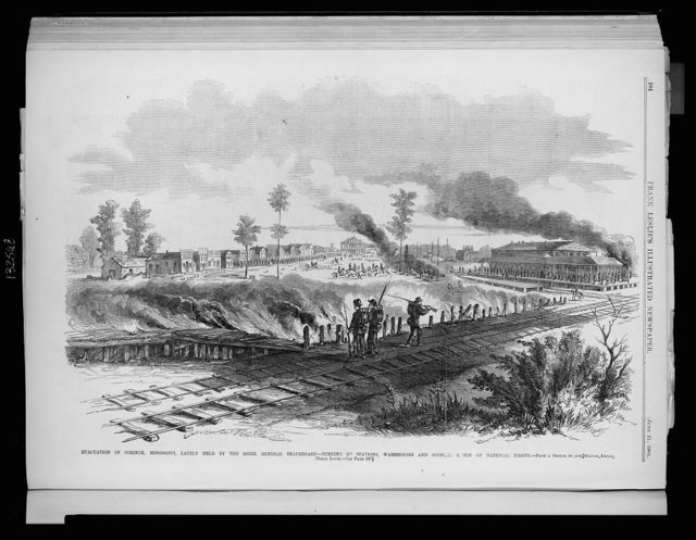 Evacuation of Corinth, Mississippi, lately held by the rebel General Beauregard - Burning of stations, warehouses and supplies - Entry of National troops / from a sketch by our special artist, Henri Lovie.