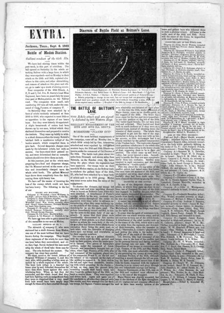 Extra. Jackson, Tenn. Sept. 6, 1862. Battle of Medon Station ... The battle of Britton's lane.