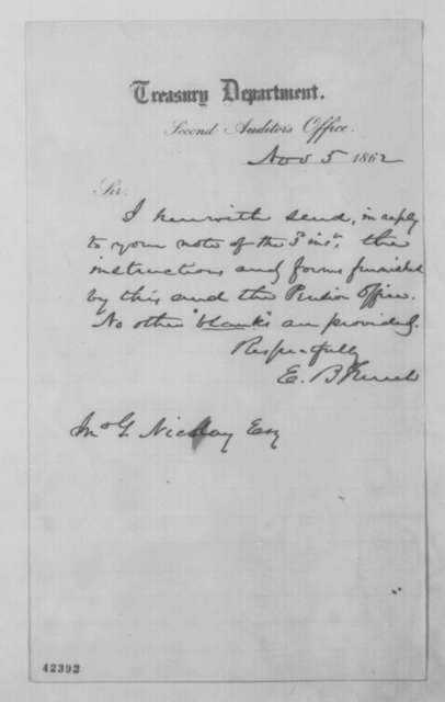 Ezra B. French to John G. Nicolay, Wednesday, November 05, 1862  (Cover letter)