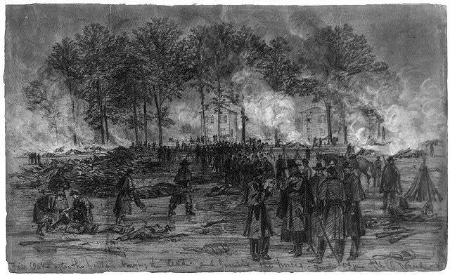 Fair Oaks after the battle, burying the dead--and burning the horses. Tuesday 3rd June