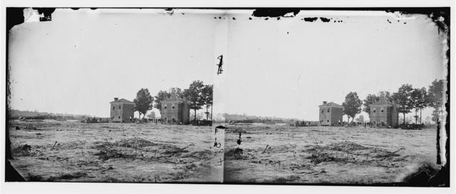 Fair Oaks, Virginia. Rear view of old frame house, orchard, and well at Seven Pines. Over 400 soldiers were buried here after the battle of Fair Oaks