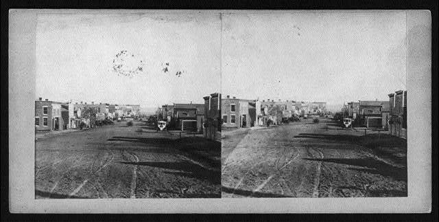 Farnham Street, Omaha, Nebraska, looking East from near Court House, between 1862 and 1868