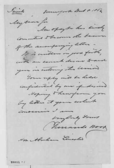 Fernando Wood to Abraham Lincoln, Monday, December 08, 1862  (Cover letter)