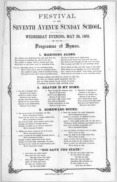 Festival of the Seventh Avenue Sunday School, Wednesday evening, May 28, 1862 ... New York Baker & Godwin, printer. [1862].