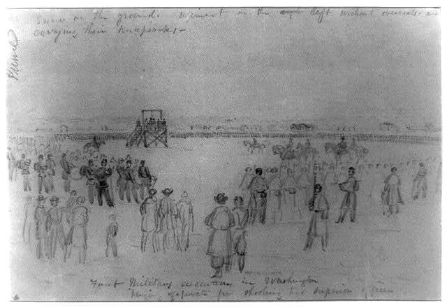 First military execution in Washington; hanging of a private for shooting his superior officer