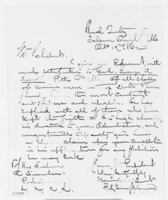 Fitz Henry Warren to Abraham Lincoln, Friday, October 17, 1862  (Recommendation)