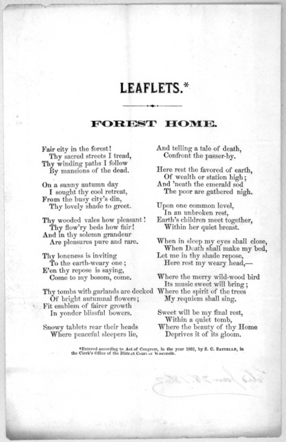 Forest home. [n. p c. 1862].