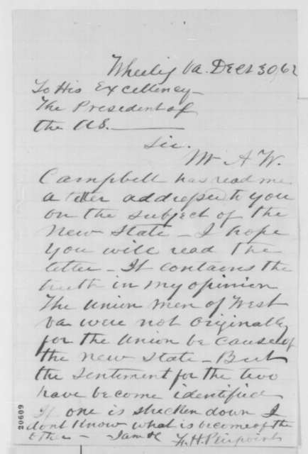 Francis H. Peirpoint to Abraham Lincoln, Tuesday, December 30, 1862  (West Virginia statehood)