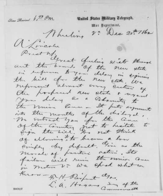 Francis H. Pierpoint, et al. to Abraham Lincoln, Saturday, December 20, 1862  (Telegram concerning West Virginia statehood)