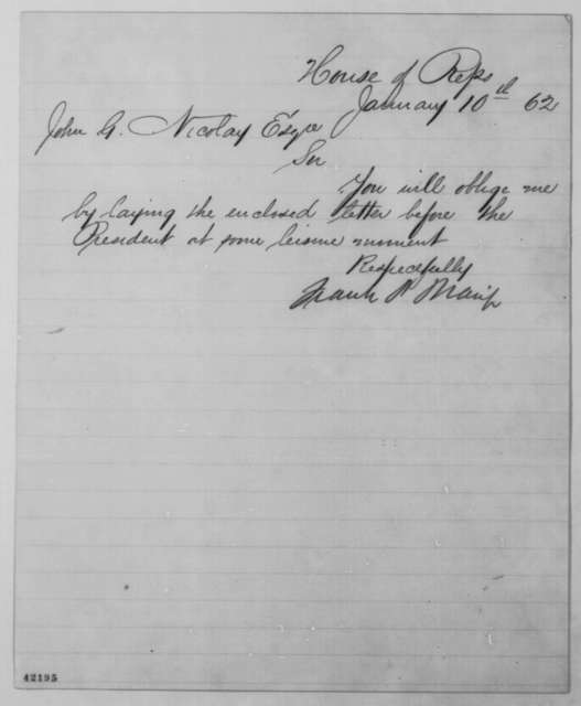 Francis P. Blair Jr. to John G. Nicolay, Friday, January 10, 1862  (Cover letter)