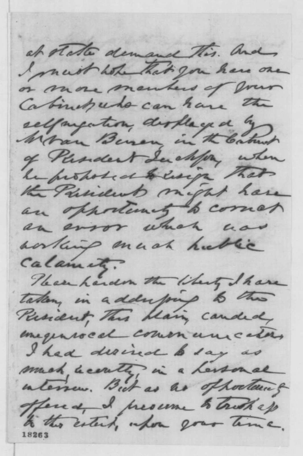 Francis Thomas to Abraham Lincoln, Saturday, September 06, 1862  (Cabinet advice)