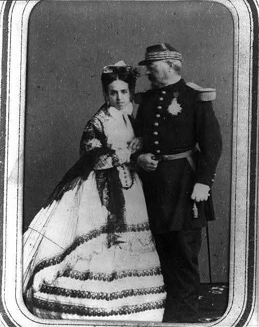 [François Bazaine and his wife, full-length portrait, standing]