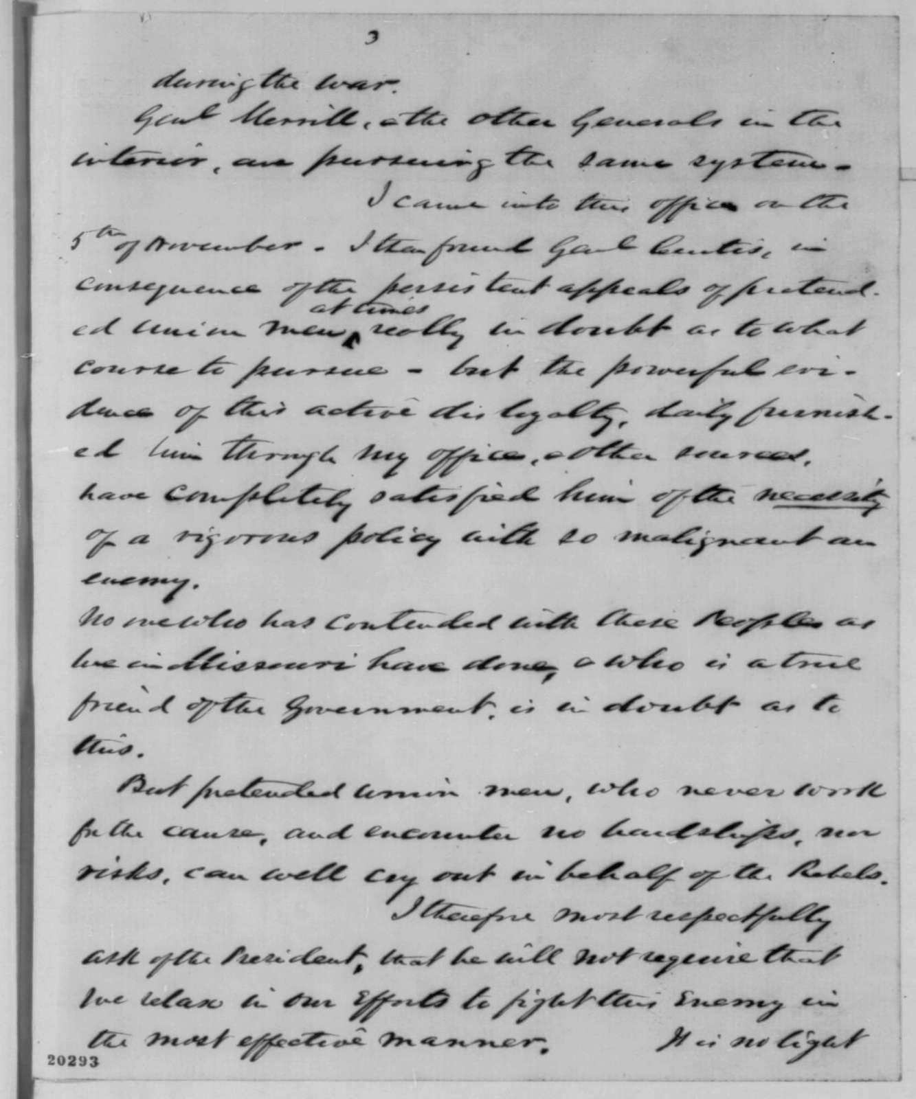 Franklin A. Dick to Abraham Lincoln, Friday, December 19, 1862  (Situation in Missouri)
