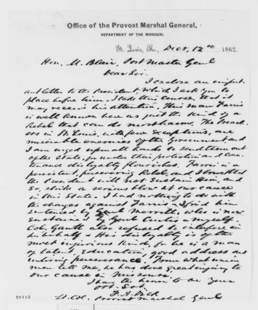 Franklin A. Dick to Montgomery Blair, Friday, December 12, 1862  (Military arrest in Missouri)