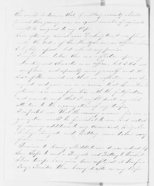 Franz Sigel to Abraham Lincoln, Friday, September 26, 1862  (Complains about his command; with notes by S. P. Heintzelman and N.P. Banks; with copy)