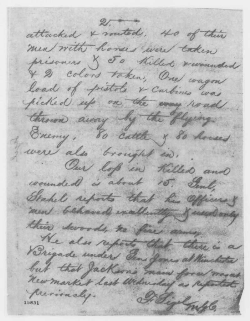 Franz Sigel to Ambrose E. Burnside, Sunday, November 30, 1862  (Telegram concerning military affairs)