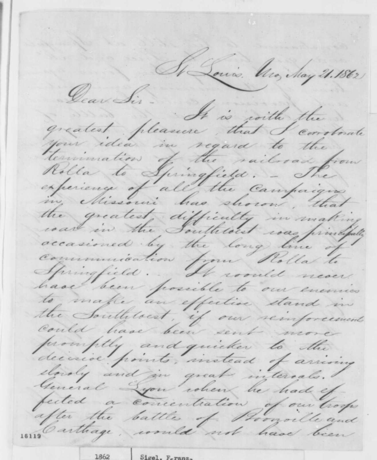 Franz Sigel to Charles Gibson, Wednesday, May 21, 1862  (Railroad in Missouri)