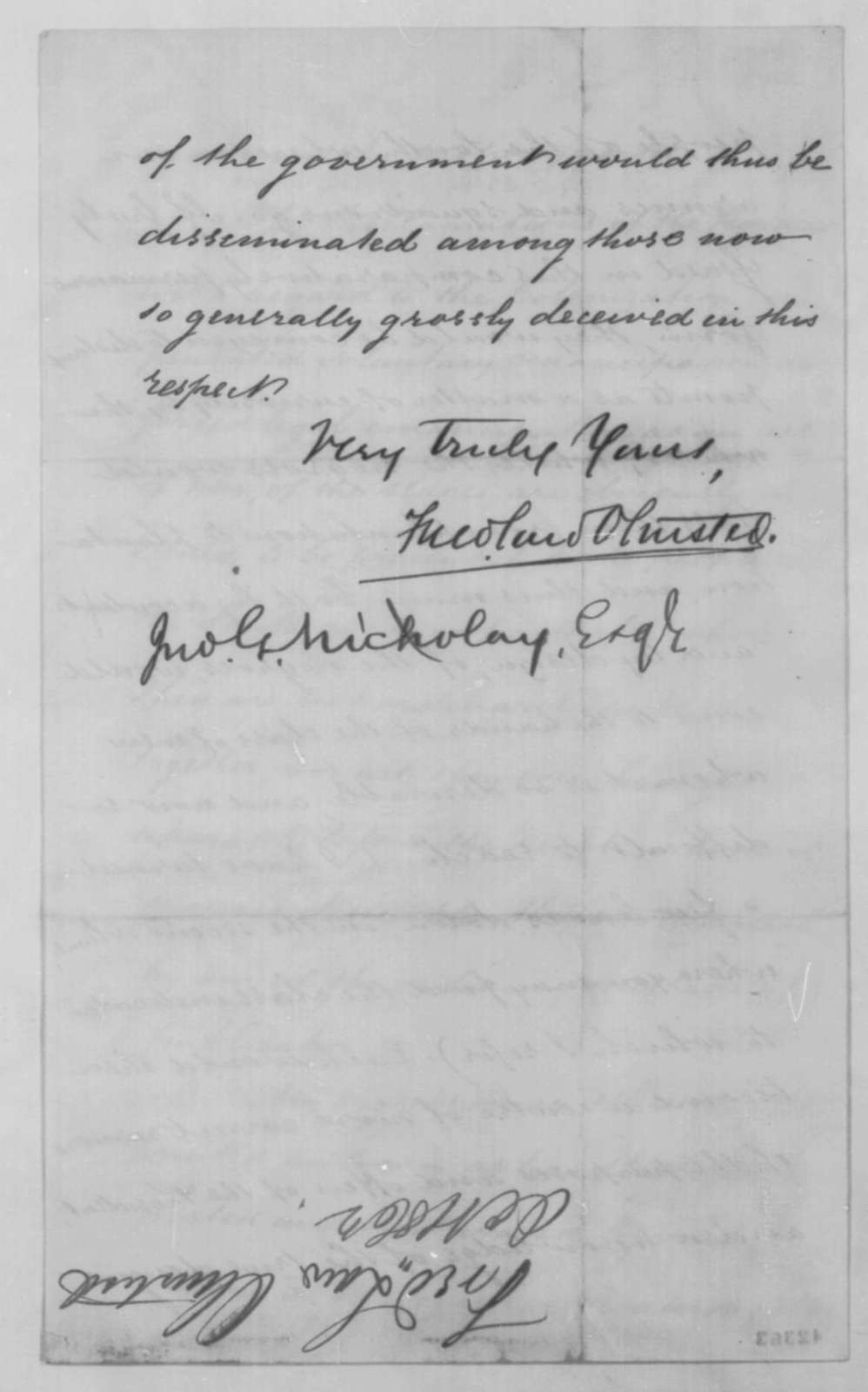 Frederick Law Olmsted to John G. Nicolay, Friday, October 10, 1862  (Sends books for Lincoln)