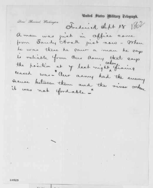 Frederick, Maryland to Washington D.C. Military Telegraph Station, Thursday, September 18, 1862  (Telegram concerning military affairs)