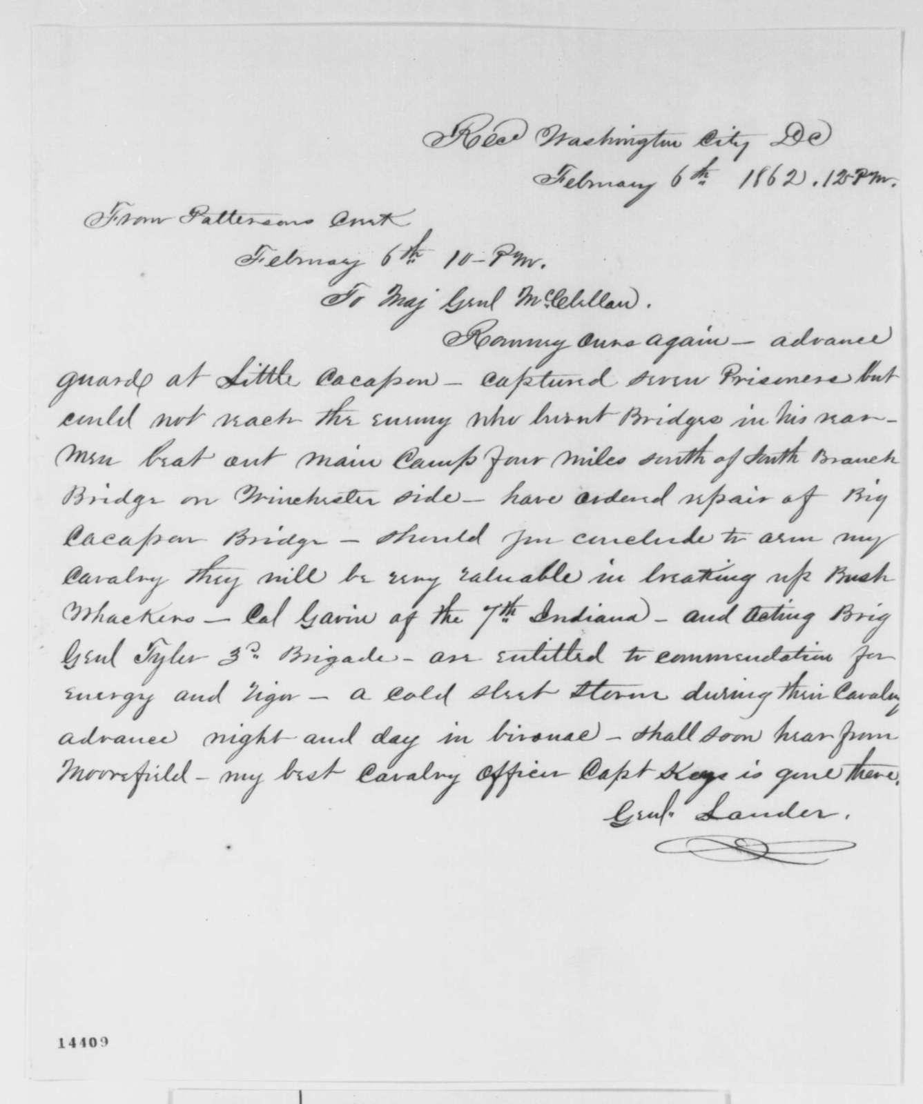 Frederick W. Lander to George B. McClellan, Thursday, February 06, 1862  (Military affairs)