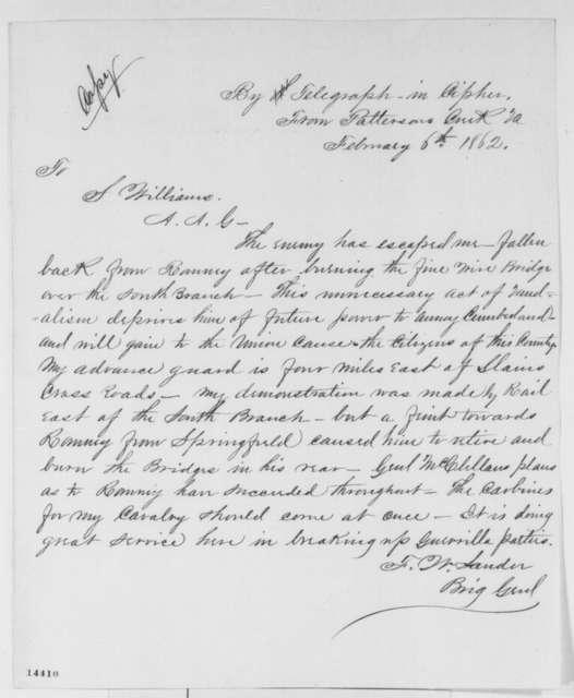 Frederick W. Lander to Seth Williams, Thursday, February 06, 1862  (Telegram regarding military affairs)