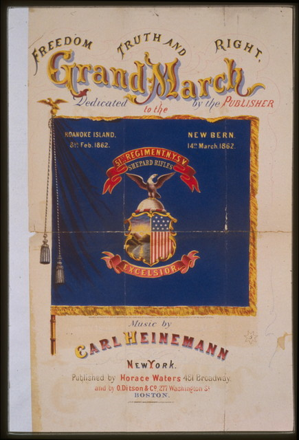 Freedom, truth and right, grand march / Lith. of Sarony, Major & Knapp, N.Y.