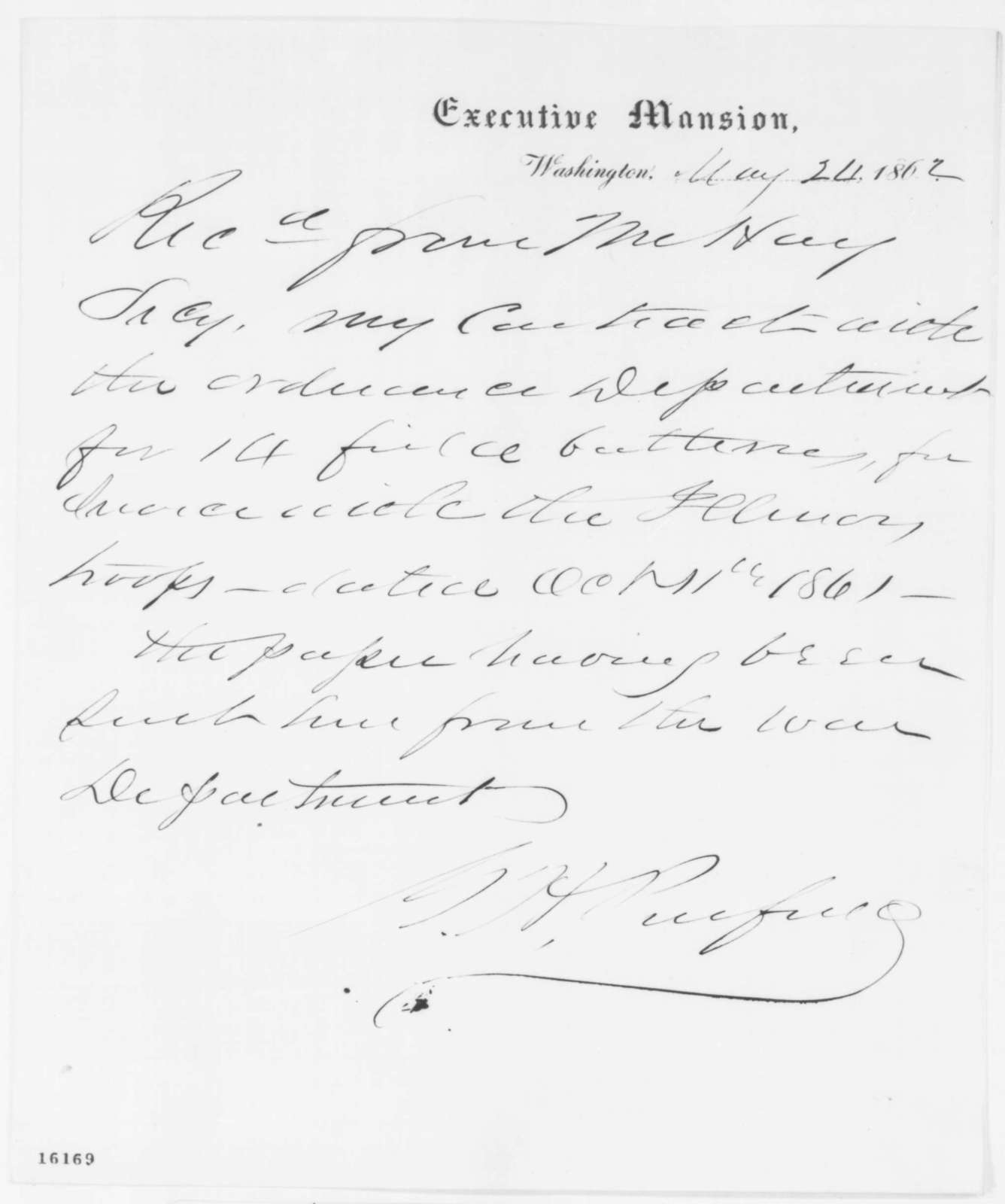G. H. Penfield, Saturday, May 24, 1862  (Receipt)