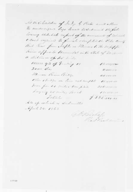G. O. Bishop to Abraham Lincoln, Thursday, April 24, 1862  (Financial Report)