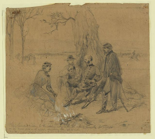Gen. Burndside [sic] visiting Gn. Franklin giving him the order to evacuate his position-on the battlefield on the right, Sunday Eve., all at rest.