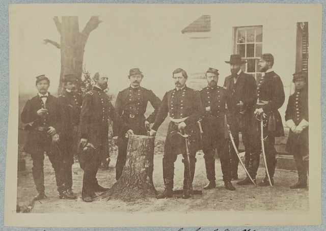 Gen. George B. McClellan and staff, Miner's Hill, Va. March 1862