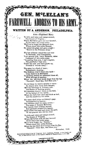 Gen. McLellan's farewell address to his army. By A. Anderson. Harris, Printer, 4th & Vine Street, Phila. 1862