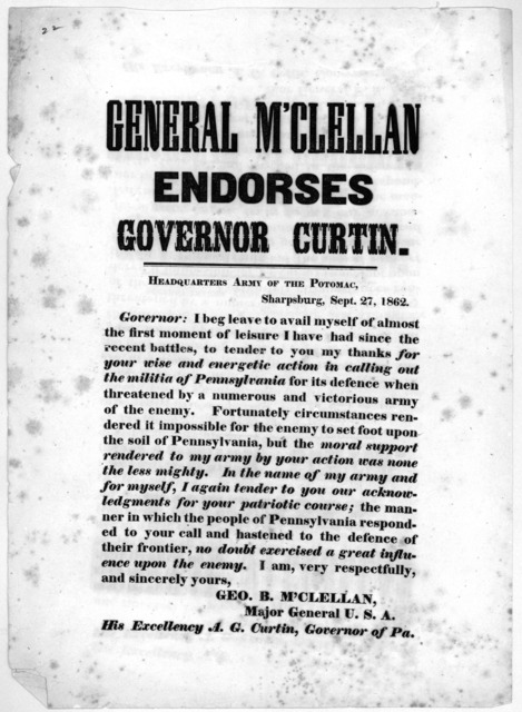 General M'Clellan endorses Governor Curtin. Headquarters Army of the Potomac, Sharpsburg, Sept. 27, 1862.