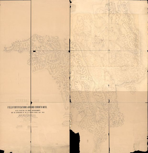 General plan of the field-fortifications around Corinth, Miss. : also exhibiting the rebel entrenchments and the approaches of the U.S. forces during May 1862 under Major Genl. H. W. Halleck, U.S.A. /