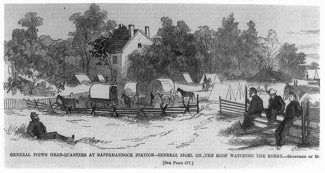 General Pope's headquarters at Rappahannock Station - General Sigel on the roof watching the enemy [Va.]