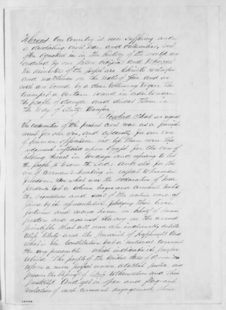 General Synod of Reformed Presbyterian Church to Abraham Lincoln, Tuesday, May 20, 1862  (Resolutions)