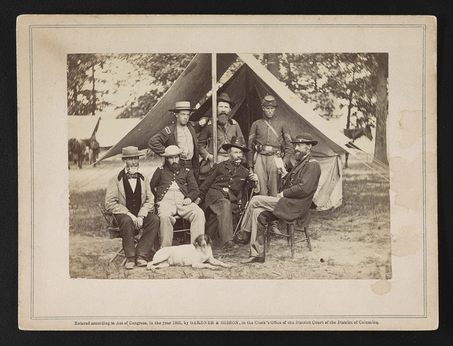 Generals Stonemen [i.e. Stoneman] and Nagle [i.e. Naglee] and staff, near Richmond, June 1862